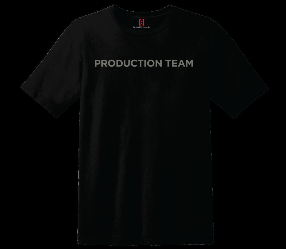 Production team t shirt twelve thirty media for Small quantity custom t shirts